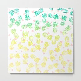 Modern summer tropical turquoise yellow pineapples ombre gradient pink triangles pattern Metal Print