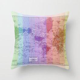 Rainbow World Map II Throw Pillow