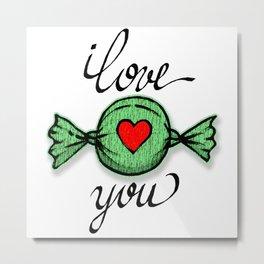I love you (green) Metal Print