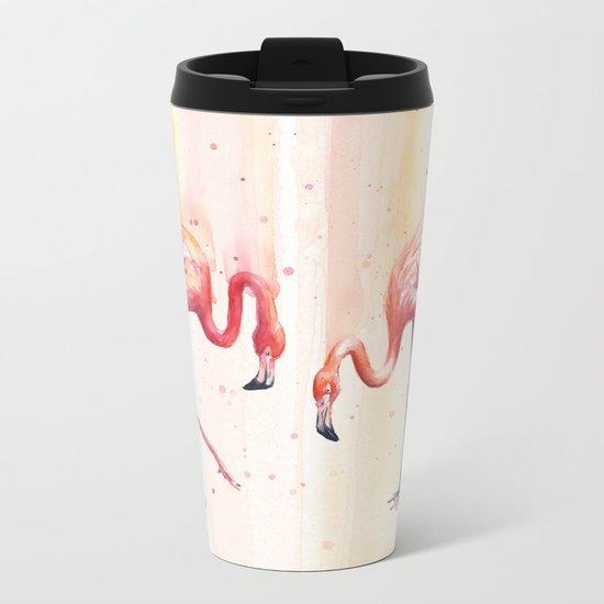 Two Flamingos Watercolor Tropical Birds Animals Metal Travel Mug