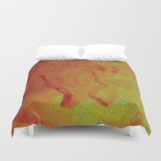 Flower | Flowers | Fading Flower | Red Abstract Duvet Cover