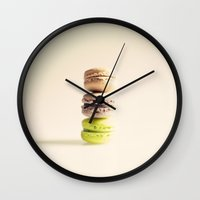 macaroons Wall Clocks featuring Macaroons  by Caroline Mint