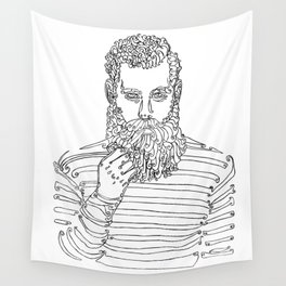 Beard Man with a Pipe Wall Tapestry