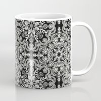 folk Mugs featuring Black & White Folk Art Pattern by micklyn
