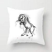into the wild Throw Pillows featuring Horse (Wild) by Paper Horses