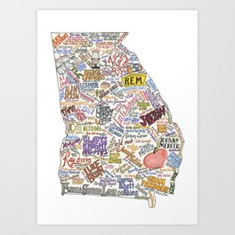 Georgia Music Map Art Print