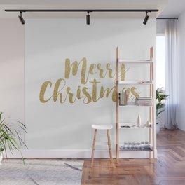 Merry Christmas | Gold Glitter Script Wall Mural
