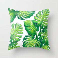 Monstera Throw Pillow