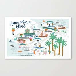 Anna Maria Island Map Canvas Print