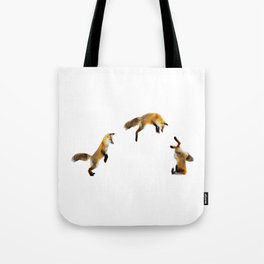 Fox Snow Jump Tote Bag