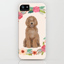 labradoodle floral wreath dog breed pet portrait pure breed dog lovers iPhone Case
