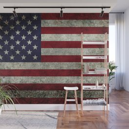 American Flag, Old Glory in dark worn grunge Wall Mural
