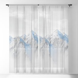 Snow Capped Mountains Sheer Curtain