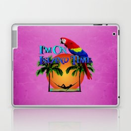 Pink Island Time And Parrot Laptop & iPad Skin