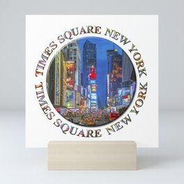 Times Square Broadway (New York Badge Emblem on white) Mini Art Print