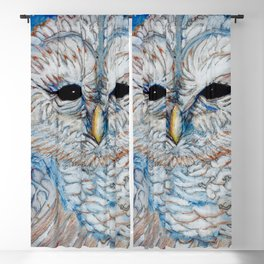 Owl Pencil Crayon and Ink Drawing Blackout Curtain