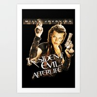 resident evil Art Prints featuring Milla Jovovich Resident Evil Afterlife by f3mal3s