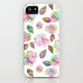 Modern elegant hand painted girly roses leaves pattern iPhone Case