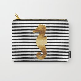 Seahorse & Stripes - Black Carry-All Pouch