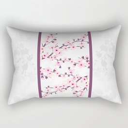 Cherry Blossoms Pink Gray Asiastyle Rectangular Pillow