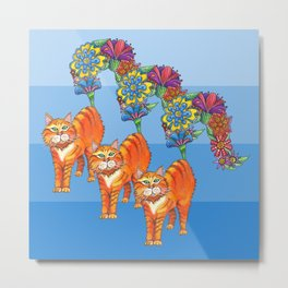 Three Blooming Kitties Metal Print