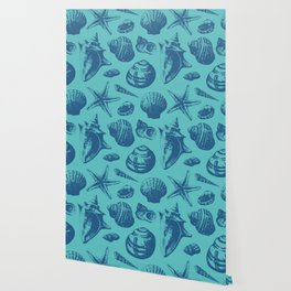 Seashells Pattern 5 - Teal Blue Wallpaper