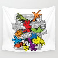 cartoons Wall Tapestries featuring Cartoons Attack by luis pippi