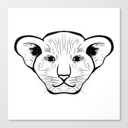 Black silhouette of a lion cub face. Lovely lion for pam, moms and toddlers, accessories. Canvas Print