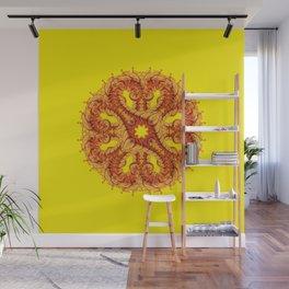 Yellow mandala fractal optical Illusion Wall Mural