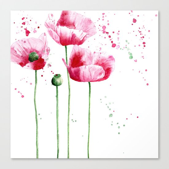 Expressive poppies || watercolor Canvas Print