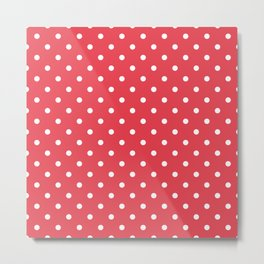 Coral Orangey-Red with White Polka Dots Metal Print