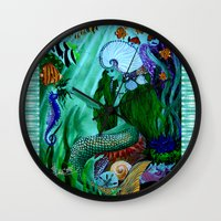 the little mermaid Wall Clocks featuring Little Mermaid. by Sylvie Heasman