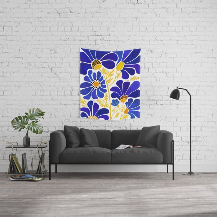 The Happiest Flowers Wall Tapestry