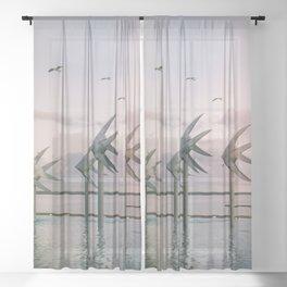 Cairns Woven Fish Sculpture (Group) | Cairns Australia Ocean Sunrise Travel Photography Sheer Curtain
