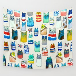 Lots of Watercolor Kitty Cats Wall Tapestry