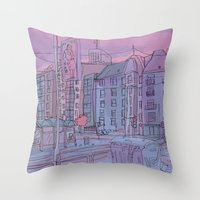 budapest Throw Pillows featuring Budapest through pencil by Zsolt Vidak