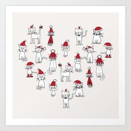 Cats in Christmas hats loveheart Art Print