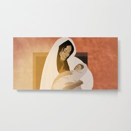 Mother Of God Mary With Baby Jesus Metal Print