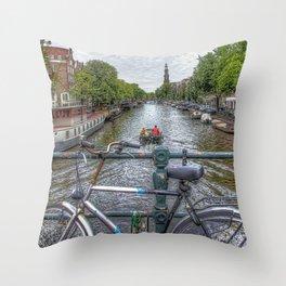 Amsterdam Bridge Canal View Throw Pillow