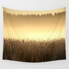 Bed Of Reeds In Golden Hour Wall Tapestry