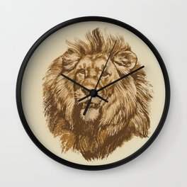 Portrait of a Lion King -  vintage hand drawn illustration Wall Clock