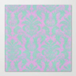 Modern vintage teal purple floral damask pattern Canvas Print