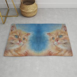 Long haired Cat portrait painting  Rug