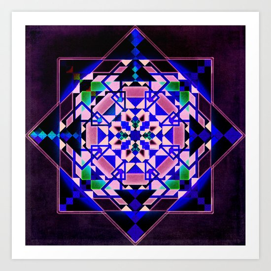 Purple, blue shapes and paterns Art Print