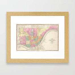 Vintage Map of Cincinnati OH (1872) Framed Art Print