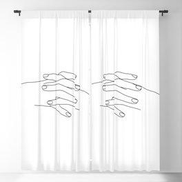 Hands line drawing illustration - Vera Blackout Curtain