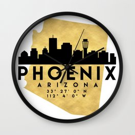 PHOENIX ARIZONA SILHOUETTE SKYLINE MAP ART Wall Clock