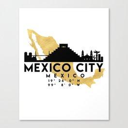 MEXICO CITY MEXICO SILHOUETTE SKYLINE MAP ART Canvas Print