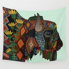 bison mint Wall Tapestry