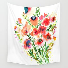 Bouquet Red Wall Tapestry